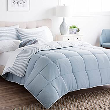Brookside Striped Chambray Comforter Set - Includes 2 Pillow Shams - Reversible - Down Alternative - Hypoallergenic - All Season - Box Stitched Design - California King - Calm Sea Blue