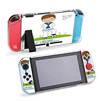 SUPNON Boy in Communion Costume and Soccer Ball Protective Case Compatible with Nintendo Switch Soft Slim Grip Cover Shell for Console & Joy-Con with Screen Protector Thumb Grips Design23117