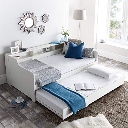 Guest Bed and Trundle, Happy Beds Tyler White Wooden Storage Daybed - 3ft Single (90 x 190 cm) with 2 Orthopaedic Mattresses Included