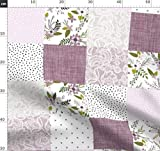 Babydecke, Quilt, Wholecloth, Quiltoptik, Blumen, Lavendel,