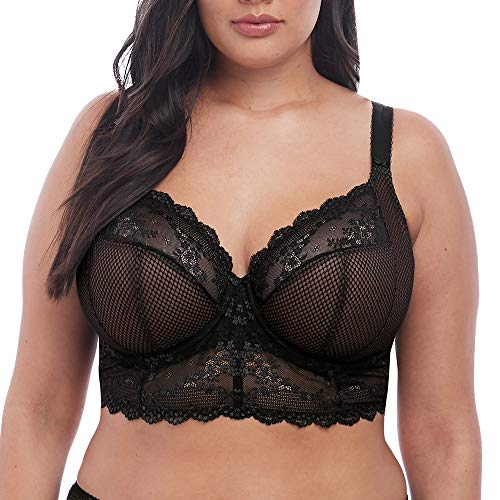 Elomi Women's Plus-Size Charley Longline Underwire Bralette Bra, Black, 36HH