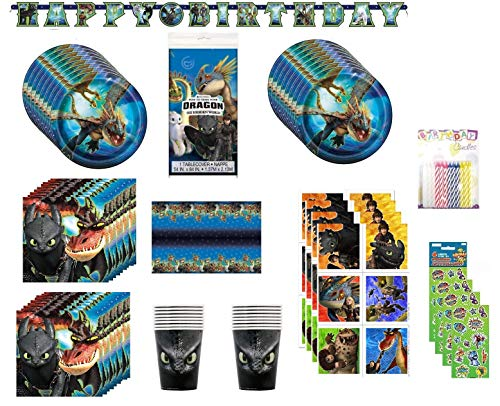 How To Train Your Dragon Birthday Party Supplies Pack Including Cake Plates, Napkins, Cups, Table Cover, Birthday Banner, Stickers, Candles for 16 Guests