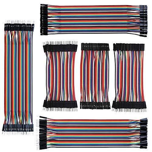 IZOKEE 240pcs 10CM und 20CM Jumper Kabel Jumper Wire Female-Female, Male-Female, Male-Male Drahtbrücken Steckbrett für Arduino und Raspberry Pi (3x10cm, 3x20cm)