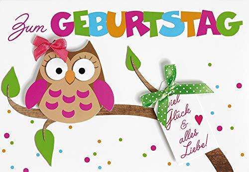 Geburtstagskarte Lifestyle - Eule, Schleife - 11,6 x 16,6 cm