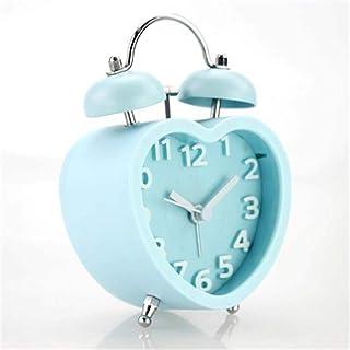 HSXOT Moderno Chino En Forma De Corazón De Doble Campana Reloj Despertador Reloj Silencioso Palabra Estéreo Reloj Estudiante Perezoso Reloj Azul
