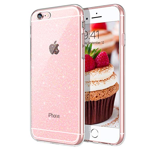 DOMAVER iPhone 6S Case iPhone 6 Case, Clear Glitter Bling Sparkly Shiny Slim Lightweight Flexible TPU Smooth Durable Shockproof Protective Phone See Through Cases Cover for iPhone 6S/6 4.7 Inch