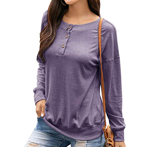 ZFQQ Autumn and Winter Women's Jacket Round Neck Button Long-Sleeved T-Shirt Casual Loose Sweater Purple