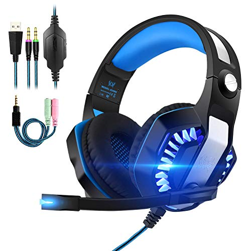 Gaming s, 3.5mm stereo Wired Over-Head Gaming hoofdtelefoon met ruisonderdrukkende microfoon Volume Control, Over Ear hoofdtelefoon for games for PC/MAC // Xbox 1 / Nintendo Switch/Mobile (Upgrade