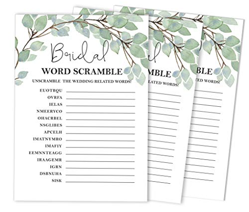 Inkdotpot Greenery Party Wedding Supplies 50-Pack Wedding Word Scramble Bridal Shower Game Cards