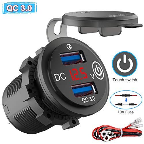 QC 3.0 USB Steckdose 12V/24V Auto mit Schalter, KFZ Ladegerät USB Einbau Buchse Wasserdicht Zigarettenanzünder Dose mit rot LED Voltmeter Batterie Spannungsanzeige 36W für Motorrad Boot LKW Wohnwagen