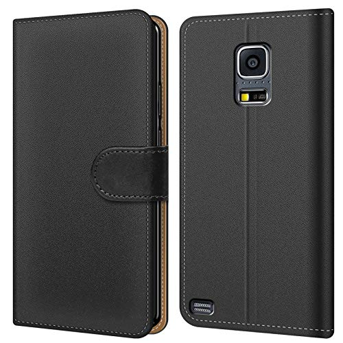 Conie BW34267 Basic Wallet Kompatibel mit Samsung Galaxy S5 Mini, Booklet PU Leder Hülle Tasche mit Kartenfächer und Aufstellfunktion für Galaxy S5 Mini Case Schwarz