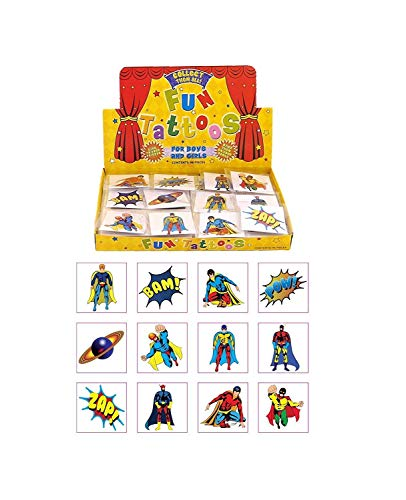 Henbrandt Super Hero 24 Superhelden-Tattoos für Kinder, Multi, 24er-Pack