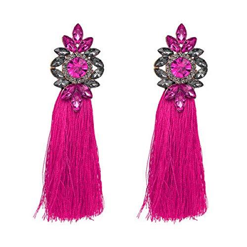 YBFZW Vrouwen Voor Oorbellen, Mode Vrouwen Boheemse Roze Kwastje Drop Oorbellen Voor Vrouwen Bruiloft Bedel Gevlochten Dangle Lange Oorbellen