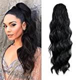 KETHBE 24 Inch Long Body Wave Ponytail hair Extension Synthetic Heat Resistant Wrap Around Drawstring Curly Wavy Ponytail Hairpieces for Women(Black)