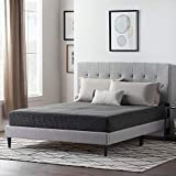 LUCID Upholstered Bed with Square Tufted Headboard -Linen Inspired Fabric –Sturdy Wood Build –No Box Spring Required Platform, Queen, Ston