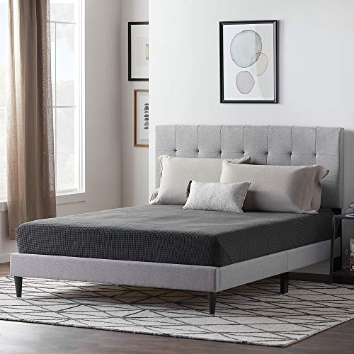 LUCID Upholstered Bed withSquare TuftedHeadboard-Linen Inspired Fabric Sturdy Wood Build No Box Spring Required Platform, Queen, Stone