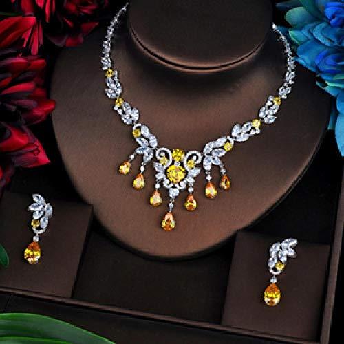 FWJSDPZ Pendientes clásicos de flores con circonita cúbica amarilla, para mujer, conjuntos de joyería de novia de Dubai, accesorios para collar de boda (color: chapado en platino)