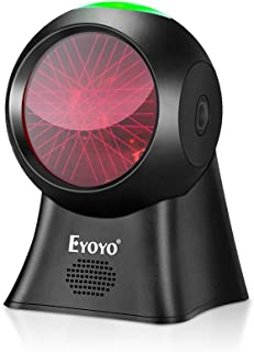 Eyoyo Omnidirectional 1D Barcode Scanner, Hands-Free Barcode Reader USB Wired Desktop Scanner with Automatic Sensing Scann...