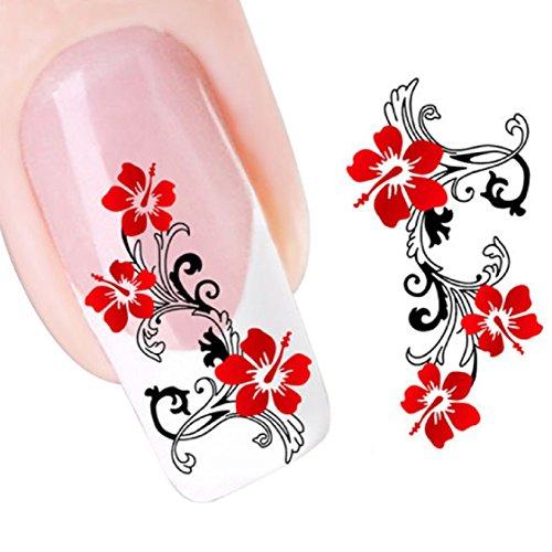 Vovotrade Red Flowers design DIY Nail Tip Art Eau Transferts Sticker Decal