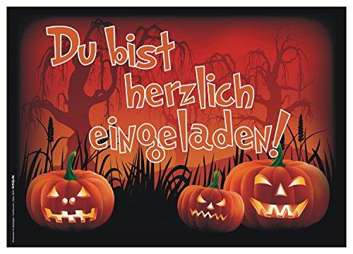 ArtUp.de 12er Set Halloween Einladungen gruselige lustige Einladungskarten Halloweenparty perfekt auch für Kindergeburtstage von Jungen und Mädchen