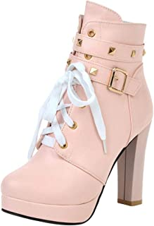 Benficial Fashion Winter Belt Buckle Pure Color High-Heeled Women Ankle Boots Party Shoes