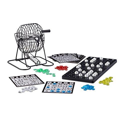 Relaxdays Bingo spel met metalen trommel HxBxD: 20 x 17,5 x 21,5 cm bingockets, losse ballen, chips, speelbord, zwart