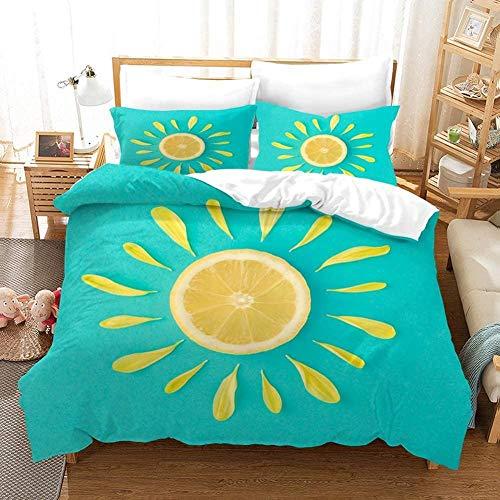 Dvvseso Duvet Cover Set, Microfiber Comforter Cover 3 Pieces Quilt Cover Set for Kids Teens, Blue sunflower petals fruit lemon Bedding Duvet Cover Twin (King size 240 x 220 cm) -Simple bedding with