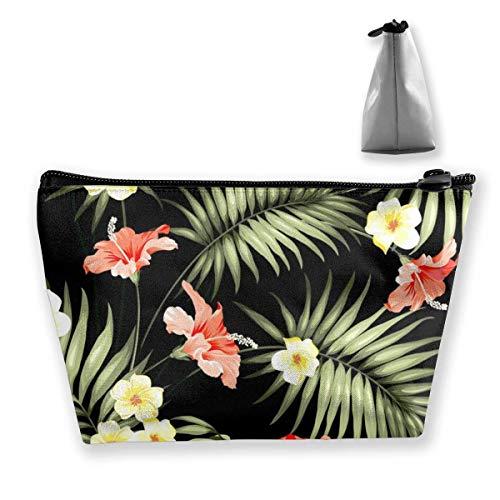 Travel Makeup Bag 2.7x4.7x8.7 in Durable Waterproof Makeup Bag Large Capacity Hawaii Hawaiian Tropical Flowers and Jungle Palms Trapezoidal Storage Travel Bag Zipper