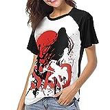 huatongxin Anime Sword Art Online Camiseta de béisbol Mujer Raglan Manga Corta Moda Deporte Camisa de Cuello Redondo
