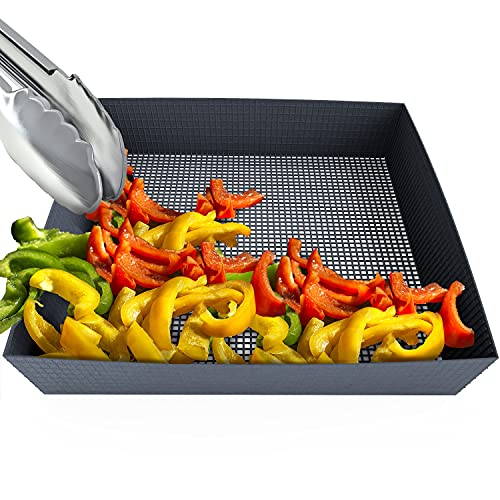 Kona Vegetable Grill Basket - Non Stick Mesh for BBQ, Pellet Grills, Smokers - Great for Fish, Veggies, Kabobs, Fruit, Nuts, Smoking Cheese
