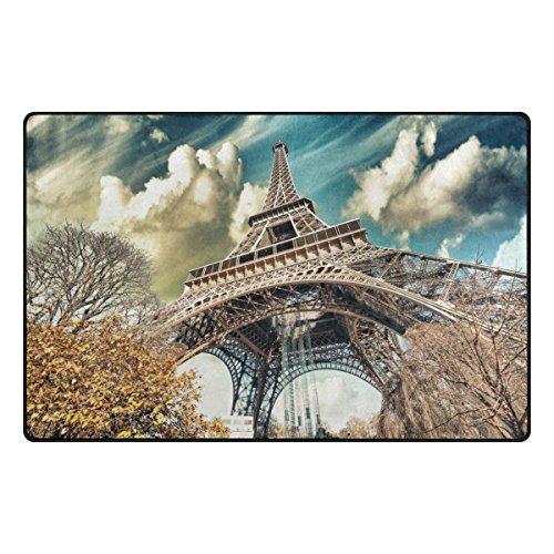 Bennigiry Home contemporain Merveilleux Street View de tour Eiffel Zone Rugs 1 '17,8 cm X 2' 15,2 cm, moderne Tapis Paillasson antidérapant pour séjour salle à manger Chambre à coucher couloir Bureau facile à nettoyer Kitty, multicolore, 31 x 20 inch
