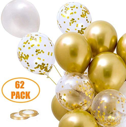 62 Stück Helium Luftballons Gold Balloons, Latex Konfetti Luftballons Hochzeit Heliumballons Weiß Goldene Ballons Hochzeit Metallic Luftballons für Geburtstag, Hochzeit, Taufe, Party Dekoration