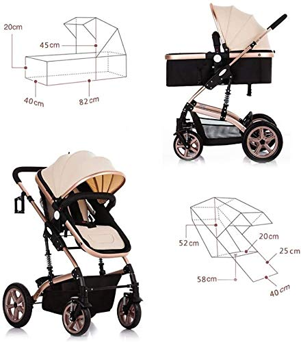 LAMTON High-View Stroller, Multi-Position Adjustable Shock-Absorbing Folding Four Season Jogging Stroller for Infants from 0 to 36 Months. Send 7 Gifts LAMTON Lycra skin-friendly fabric. Thick and non-pleated, soft and silky, warm and breathable, the best choice for baby soft skin. The frame connection is supported by a spring bracket, which effectively alleviates the shaking of the body, makes the cart more stable, and the baby sleeps more securely. Big fill cradle. High view. Reversible stroller seat. damping. Bump bumper. Large storage basket. Front wheel rotation with suspension spring. Fully adjustable 5-point seat belt Made of high-quality carbon steel pipe: streamlined curve, no rust, anti-oxidation, impact resistance, high strength, can adjust the most comfortable push position; reversible baby stroller seat allows the baby to easily face the parents or face the world. 2