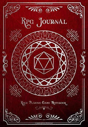 RPG Journal Mixed Paper: Ruled, Graph, Hexagon and Dot Grid | Role Playing Game Companion Silver & Red Leather (Dungeon RPG Game Series)