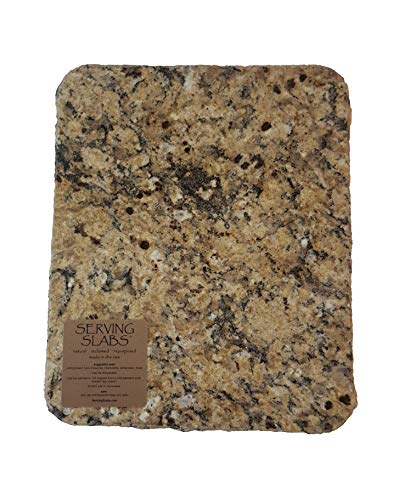 Handmade Reclaimed Granite Cheeseboard with Rough Chiseled Edge, 12' x 11', Brown