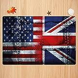 Alfombra de baño Antideslizante,Union Jack, Alliance Togetherness Theme Composición de Banderas del Reino Unido y EE. UU. Vintage Apto para Cocina, salón, Ducha (50x80 cm)