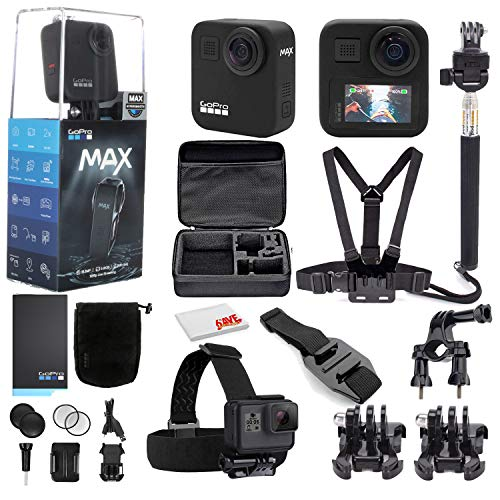 GoPro MAX 360 Waterproof Action Camera - Camera W/Touch Screen - Spherical 5.6K30 HD Video - 16.6MP 360 Photos - 1080p Live Streaming Stabilization - with Mega Accessory Kit - Get Rolling Bundle