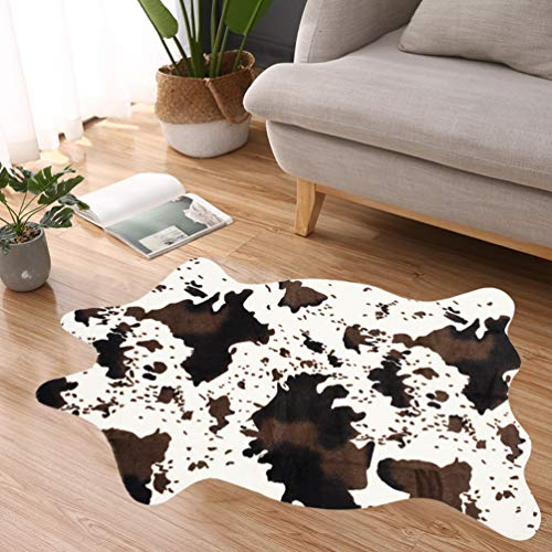 Nideen Alfombra de piel sintética con estampado de vaca, 110 x 75 cm