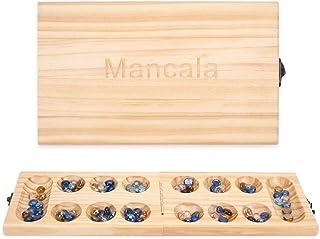 マンカラ ゲーム折りたたみ 旅行ゲーム 対面ボードゲーム -子供と大人向けのスマートな戦術ゲーム (木製)