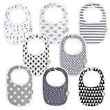Organic Baby Bibs for Boys & Girls - Organic Cotton Teething Bib - Newborn Bibs for Baby Girl, Boy - Infant Bibs - Machine Washable Newborn Cloth Bib - 0-24 Months Baby Drool Bibs (Grayscale)