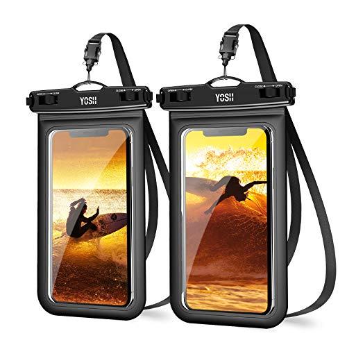YOSH Funda Impermeable Móvil IPX8 Universal 2 Unidades, Bolsa para Móvil Estanca a Prueba de Agua para iPhone 12 Pro Mini 11 XR X 8 7 6 Galaxy A51 A71 Xiaomi Poco X3 RedMi Note 9 hasta 6.8''