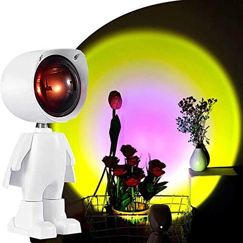 JAKROO Robot Lámpara Proyector, 360 Degree Rotation Romantic Visual Mood Lighting Projection Lamp, Carga USB, para Dormitorio, Sala de Estar Habitación
