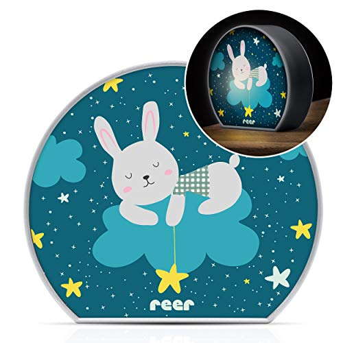 reer MyBabyLight Hase, Nachtlicht mit Hasen-Motiv, Einschlaflicht für Baby und Kind, Batterie-Betrieben, Rot, 52371