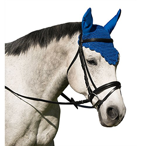 Intrepid International Crochet Fly Veil with Ears Horse Size Scalloped Solid Black