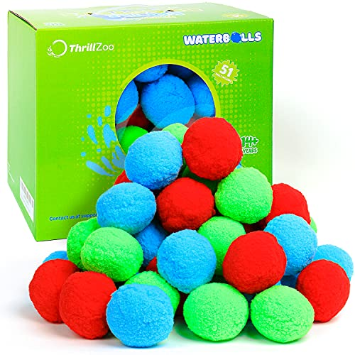 ThrillZoo 51 Reusable Water Balls Water Balloons for Kids Teens Adults - Summer Fun Pool Toys Outside Water Toys Kids Outdoor Toys Pool Games Trampoline Accessories Water Play Water Games