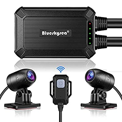 Blueskysea B1M Motorcycle Drive Recorder No Screen Safe Driving 135?Wide Angle IP67 Waterproof, Front and Rear Motor Dash Cam 1080P, GPS Optional,Support Max 128GB G-Sensor WDR Loop Recording WiFi by China OEM