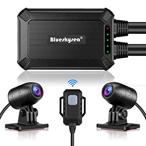 Blueskysea B1M Motorcycle Dash Cam No Screen Safe Driving 135°Wide Angle IP67 Waterproof Front and Rear Motor Drive Recorder 1080P GPS Optional Support Max 128GB G-Sensor WDR Loop Recording WiFi