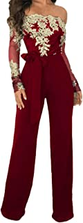 Swyss Elegant Jumpsuit for Womens Long Sleeve Off One Shoulder Playsuit Cocktail Party Rompers Clubwear
