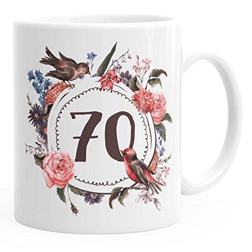 MoonWorks Geburtstags-Tasse 70 siebzig Geschenk-Tasse Kaffee-Tasse Blumen Blüten Blumenkranz weiß Unisize