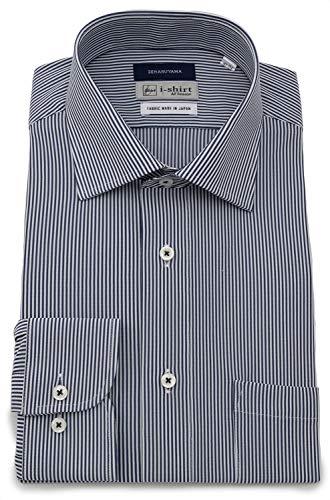[アイシャツ] i-shirt 完全ノーアイロン ストレッチ 超速乾 スリムフィット 長袖 アイシャツ ワイシャツ メンズ ノンアイロン 080 ネイビー セミワイド ロンドンストライプ M15119003388 日本 L84(首回り41cm×裄丈84cm) (日本サイズL相当)